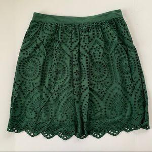 Loft Green Lace Cutout Scalloped Skirt